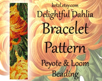 Peyote Patterns Stitch and Loom Beading Bracelet Pattern with Word Chart Bead Weaving Graph Flowers Orange Dahlia