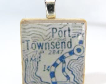 Port Townsend, Washington - 1925 vintage Scrabble tile map