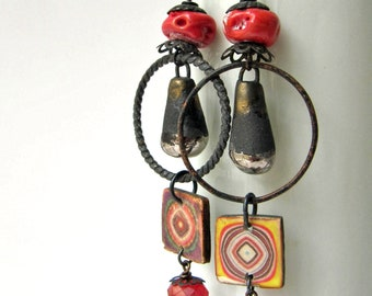 The Final Time The Fair Came- rustic red & black earrings w/ art beads; dark grungy post-apocalyptic earrings; primitive assemblage earrings