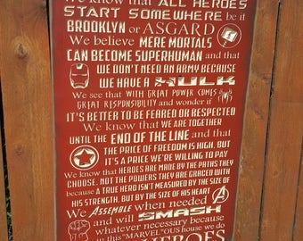 "Custom Carved Wooden Sign - ""MARVEL SUPERHEROES - In this house we do Superhero, Captain America, Spiderman, Avengers, Hulk, Thor, Iron Man"""