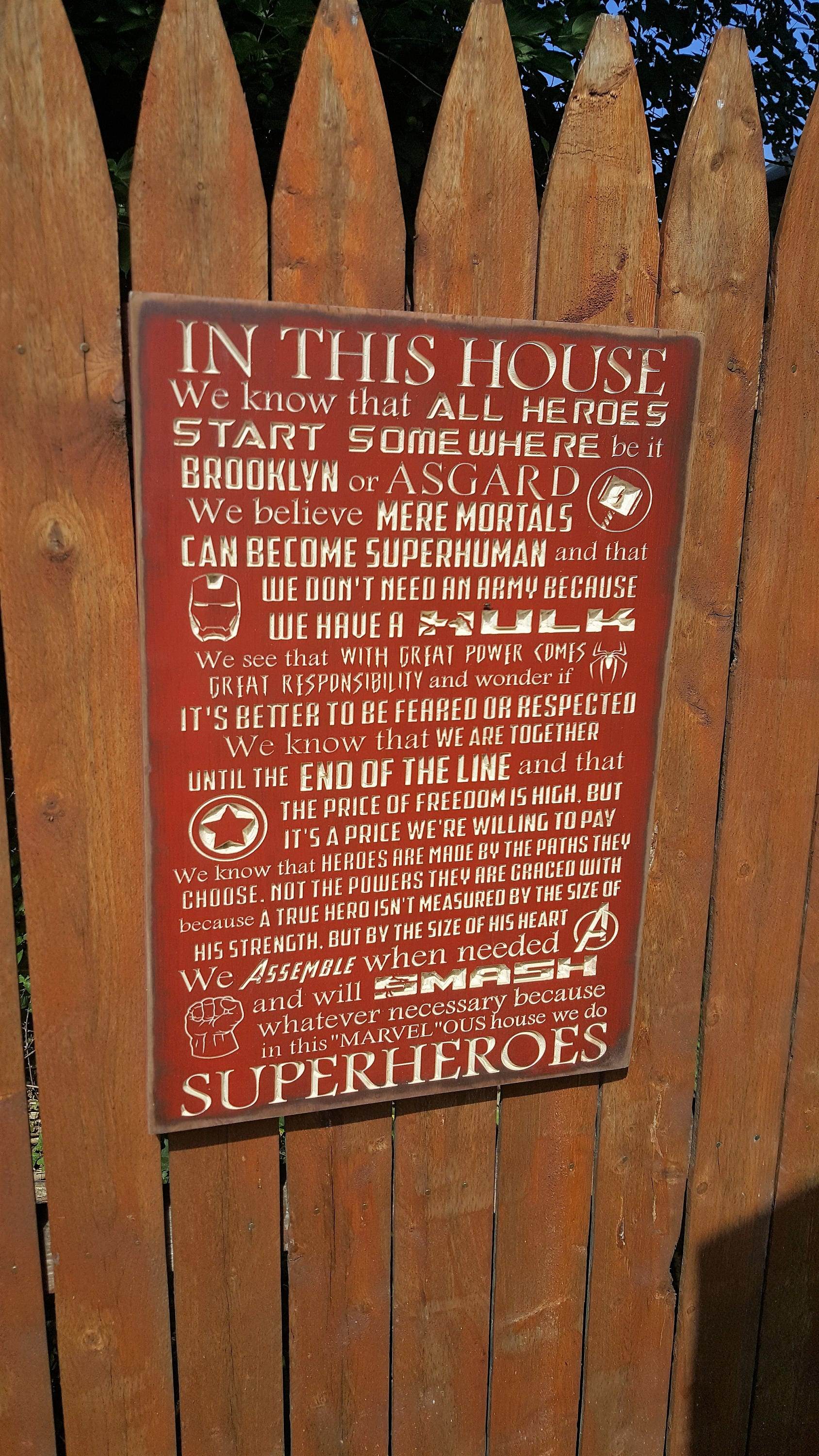 Custom Carved Wooden Sign Marvel Superheroes In This