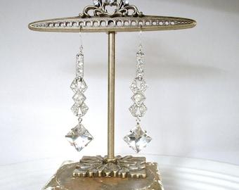Antique Art Deco 1920s Bridal Earrings, Sterling Silver Rhinestone Drops, Vintage Long Paste Crystal Statement Dangle Gatsby Wedding Downton