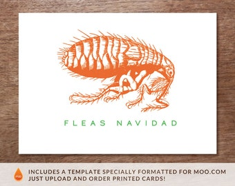 Printable Christmas Card - Instant Download Christmas Card - Fleas Navidad PDF Card - Giant Flea Christmas Card - Feliz Navidad PDF Card