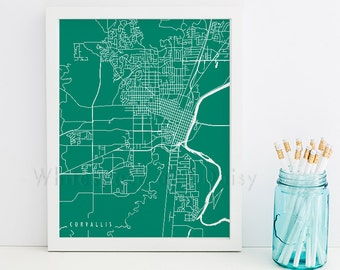 Corvallis Map Corvallis Art Corvallis Map Art Corvallis Print Corvallis Printable Corvallis City Art Oregon Art