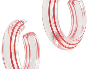 Clear Lucite Hoop Earrings Pierced Vintage 1980s