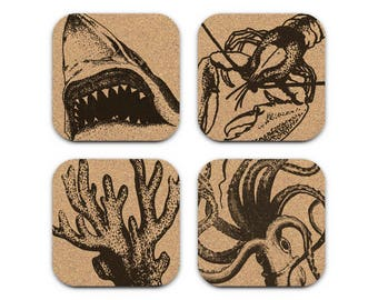 SHARK OCTOPUS Nautical Coastal Cork Coaster Set Of 4 Home Decor Barware Decoration