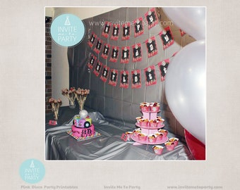 Pink Disco Party Printable Decorations / Dance Party