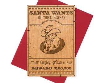 Sheriff Themed Christmas Cards Wood. Sheriff Santa Christmas Card. Holiday 2017 Greeting Card.