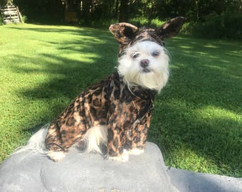 Be Halloween Ready! Adorable Leopard/cheetah print Dog Costume for smaller breed dogs