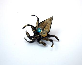 STEAMPUNK origami octopus pin
