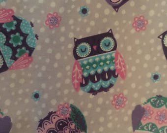 Hoot owl flannel sheet