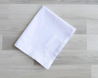 Vintage White Linen Embroidered Table Runner