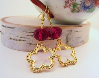 Holiday gift for her. Gold and red dangle earrings. Bright faceted cherry red beads. Bright gold flower cut outs. Lightweight.