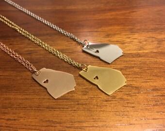 Georgia Necklace - Georgia Pendant - Georgia Charm - Georgia Outline - Georgia Jewelry - State Jewelry - Georgia