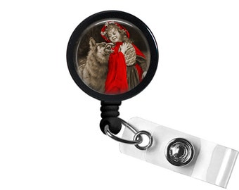 Red Riding Hood Photo Glass/Bottle Cap Retractable ID Badge Reel