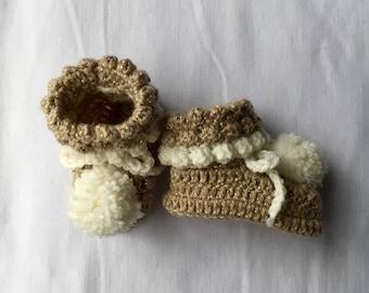 Baby Crochet Booties, Crochet Baby Shoes, Beige Baby Crochet Booties, New Baby Gift, Babies First Shoes, Photo Prop, Gender Neutral Booties
