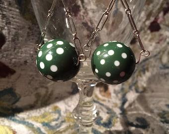 Large green vintage bubblegum earrings