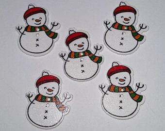 5 Wooden Snowman Buttons #C-00061