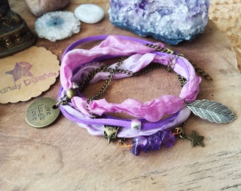 Boho Wrap bracelet Live Laugh Love. Lavender boho wrap bracelet. Feather jewelry Sari silk, bohemian Amethyst anklet, boho jewelry, crystals