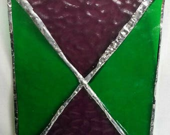 Green and Violet Stained Glass Ornament One of a Kind Window Decoration