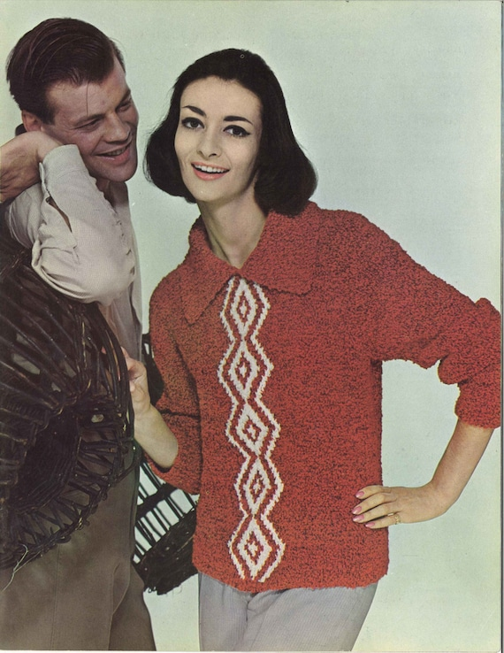 Red Diamonds • 1960s Collared Sweater Pattern • 60s Vintage Knitting ...