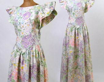 Vintage 1970's Floral Gown | 70's Long Cotton Print Dress | Princess Bodice | Gathered Skirt | Lavender Blue & Pink Flowers | Size Medium