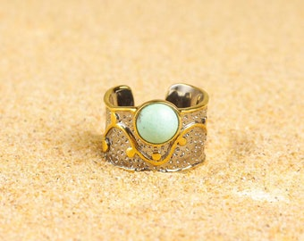 18k Gold Vermeil Turquoise Band