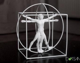 3D Printed White Vitruvian Man