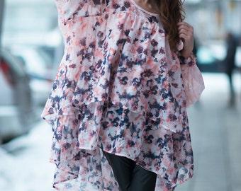 Women Maxi Soft Cotton Silk Tunic Top, Asymmetric Flounces Top, Oversize Summer Top, Cotton Casual Dress by EUG fashion - TU0425CT