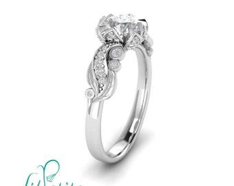 Lotus Flower Engagement Ring Inspired by Nature Leaves Moissanite Diamond Rings