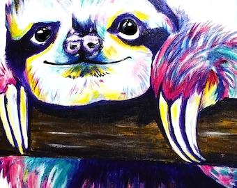 Colorful Sloth  8 x 10 print