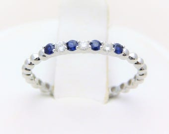 White Gold Natural Diamond and Sapphire Stackable Band