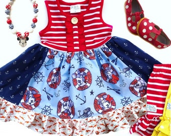 Disney cruise dress Mickey Mouse Minnie Mouse Nautical outfit for girls toddler gift Vacation dress custom boutique