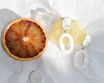 Perlmutt Ohrringe Anouk | Muschel Edelstein handmade geometric small | MOTHER OF PEARL