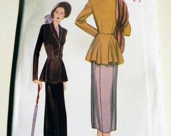 "1940s Fitted Suit Jacket Peplum Below Waist Straight Skirt reissue sewing pattern Butterick 6256 Size 6 8 10 Bust 30.5 31.5 32.5"" UNCUT FF"