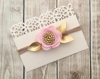 Soft Pink Headband/Felt Flower Headband/Baby Headband, Newborn Headband, Infant Headband, Toddler Headband