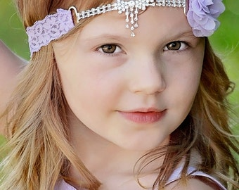 Lavender Flower Girl Headband, Lavender Lace Headband, Rhinestone Headband, Lavender Wedding, Prom Headband, Light Purple, Teen, Adult