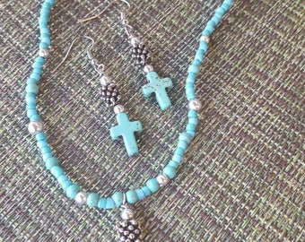 Turquoise Colored Cross Necklace and Earring Set