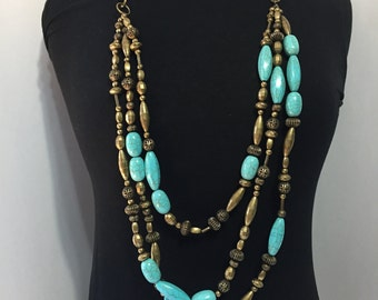 Bold Multi Strand Necklace - Statement Necklace - Retro Necklace