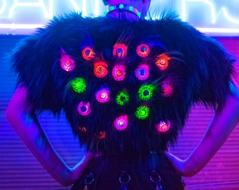 Eyeball Fur jacket shrug bolero l.e.d. wearable fashion tech monster creepy fashion