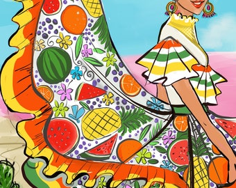 Colorful Mexico, Fashion Illustration,Fashion Sketch,Fashion Print,Fashion wall art,Fashion art,Fashion poster,Girly sketch