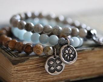 Earthy Picture Jasper Bracelet 8mm Beads, Stretch Bracelet, Stack Bracelet, Sterling Silver Charm, Gemstone Bracelet, Beaded Bracelet, Boho