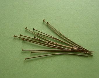 vintaj brass 12 head pins, 2 inches long head pins, brass head pins