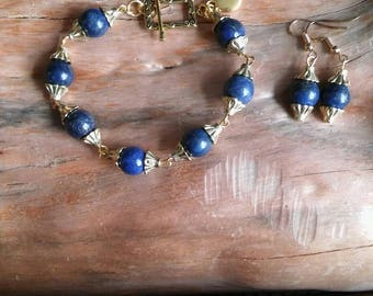Lapis Lazuli halfedelsteen armband met oorbellen