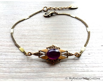 Art deco bracelet with amethyst cabochon, Isolde collection