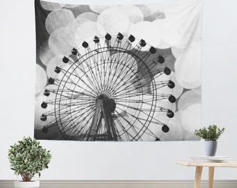 Hipster Tapestry - Ferris Wheel Art - Photo Tapestry - Bokeh Photography - Carnival Photograph - Dorm Art - Home Decor - Black and White Art