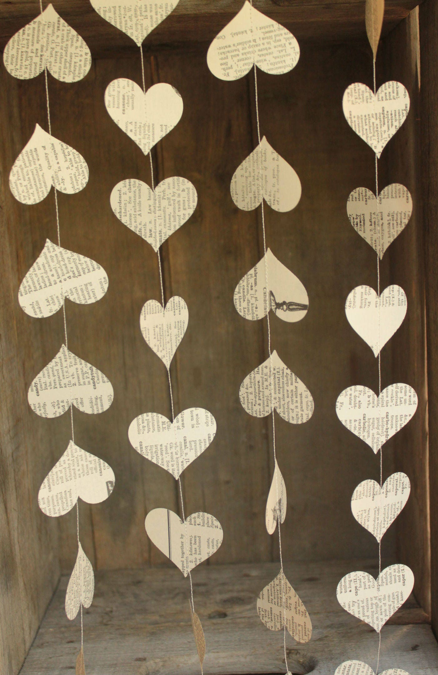 Paper Garland Wedding Decoration Book Page Hearts ce Upon