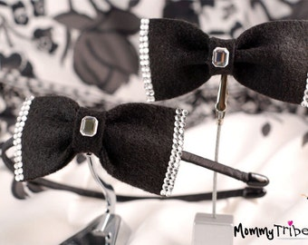 Matching Brother and Sister Look: Black Bow Tie and Hairband with Crystals - Boy & Girl Set