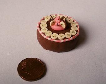 Chocolate banana cake, dollhouse miniature 1/12