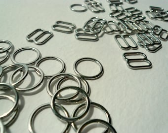 Bra / Lingerie Making. Quality Silver Metal Sliders and Rings. 10 mm wide